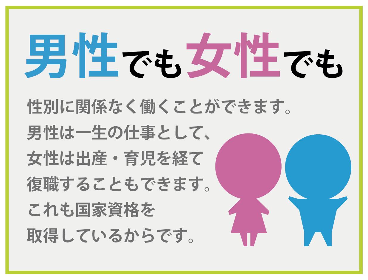 男性でも女性でも 性別に関係なく働くことができます。 男性は一生の仕事として、 女性は出産・育児を経て復職することもできます。 これも国家資格を 取得しているからです。