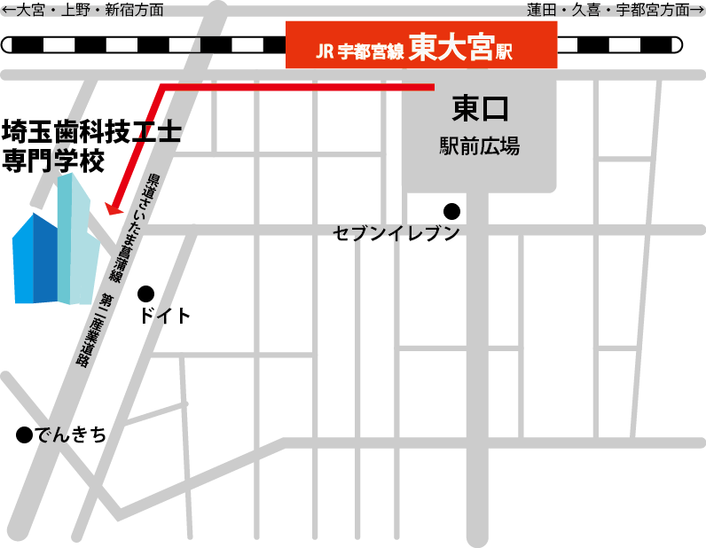 埼玉歯科技工士専門学校周辺マップ